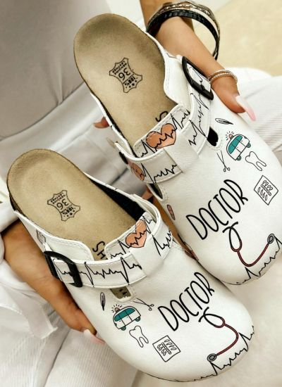 LEATHER CLOGS WITH BELTS DOCTOR - WHITE