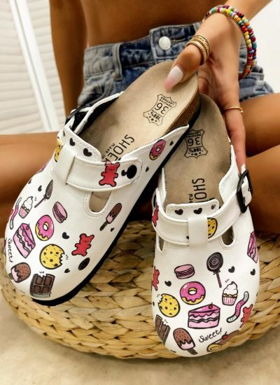 SWEET CANDY LEATHER CLOGS - WHITE