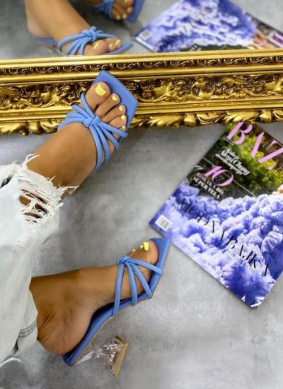 MULES WITH CLEAR HEEL - BLUE