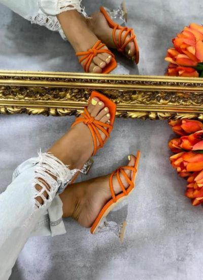 MULES WITH CLEAR HEEL - ORANGE