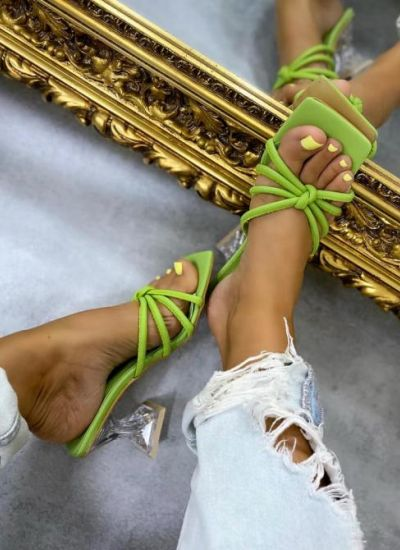 MULES WITH CLEAR HEEL - GREEN