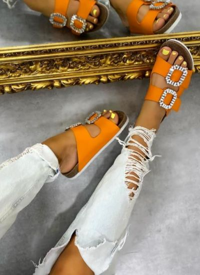 SLIPPERS WITH BELTS AND CLIP - ORANGE