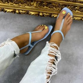 FLIP FLOP SANDALS WITH ZIRCONS - BLUE