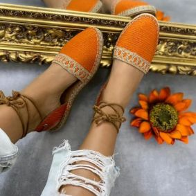 JUTA LACE UP SANDALS - ORANGE