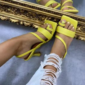 THIN HEEL TOE SANDALS - YELLOW