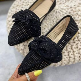 VELOUR HOLLOW  BALLET FLATS WITH BOW - BLACK