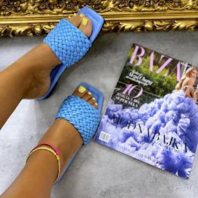 FLAT KNITTED MULES - BLUE
