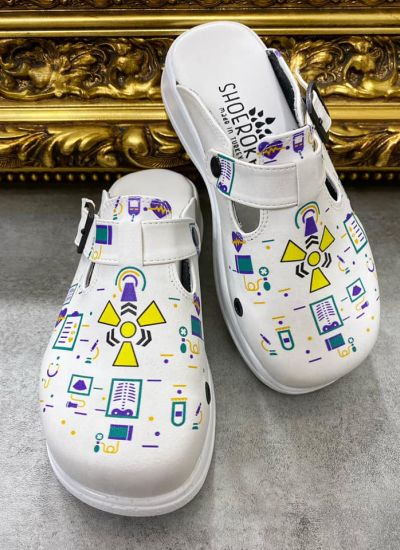 RADIOLOGIST MEDICAL LEATHER CLOGS - WHITE