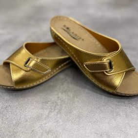 ANATOMICAL SLIPPERS WITH HIGHER SOLE AND VELCRO BAND -  CHAMPAGNE