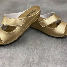 ANATOMICAL SLIPPERS WITH VELCRO BAND -  GOLD