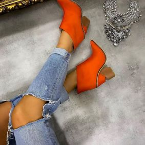 VELOUR SPIKE ANKLE BOOTS - ORANGE