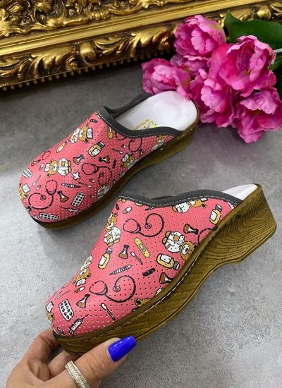 DOCTOR MEDICAL HOLLOW HIGH BROWN SOLE CLOGS - ROSE