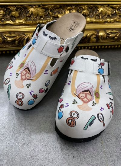 BEAUTY LEATHER CLOGS WITH BELT - WHITE