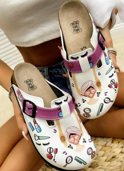 BEAUTY LEATHER CLOGS WITH CYCLAMEN BELT - WHITE