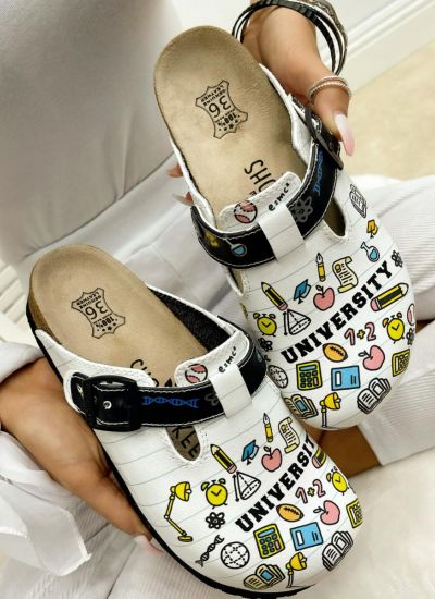 UNIVERSITY LEATHER CLOGS WITH  BELTS - WHITE