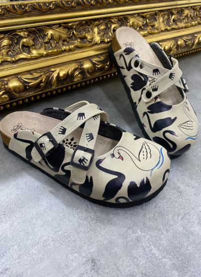 SWAN LEATHER CLOGS WITH BELTS - BEIGE