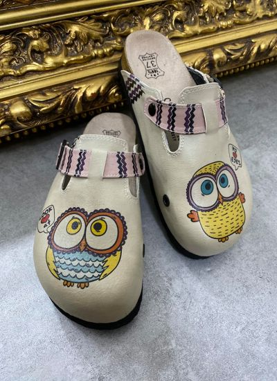 MY EYES OWL LEATHER CLOGS WITH BELT - BEIGE