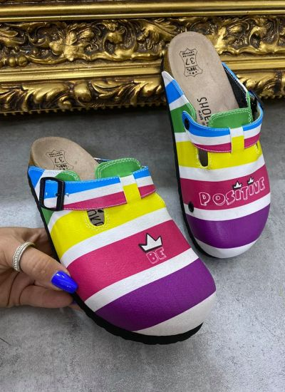 BE POSITIVE COLOURFULL CLOGS WITH BELT