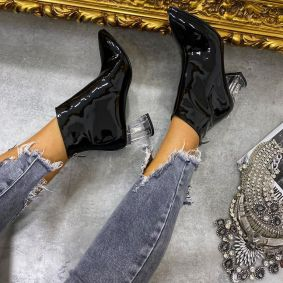 PATENT  ANKLE BOOTS WITH CLEAR THICK HEEL-  BLACK