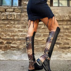 SNAKE PRINT HIGH BOOTS WITH BELTS - BLACK/BROWN