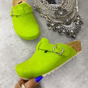 LEATHER ANATOMIC CLOGS - GREEN