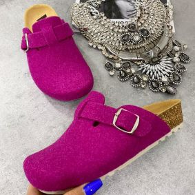 LEATHER ANATOMIC CLOGS - PINK