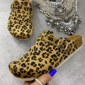 LEOPARD LEATHER ANATOMIC CLOGS