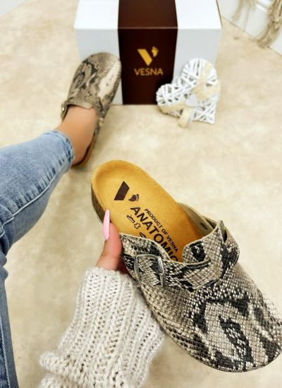 SNAKE LEATHER ANATOMIC CLOGS - BEIGE