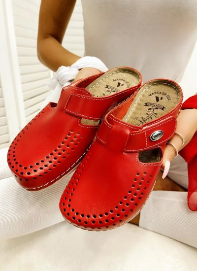 LEATHER ANATOMIC CLOGS WITH VELCRO BAND - RED