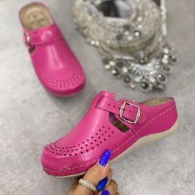 HIGH SOLE ANATOMIC LEATHER CLOGS  - PINK