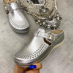 HIGH SOLE ANATOMIC LEATHER CLOGS  - SILVER
