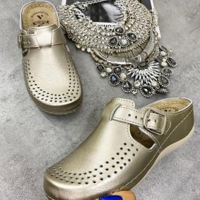 HIGH SOLE ANATOMIC LEATHER CLOGS  - GOLD