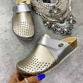 ANATOMIC LEATHER CLOGS WITH VELCRO BAND - SILVER/GOLD