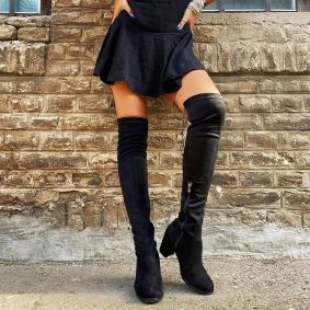 THIGH - HIGH BOOTS WITH CHUNKY HEEL - BLACK