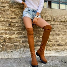 VELOUR  THIGH - HIGH BOOTS - CAMEL