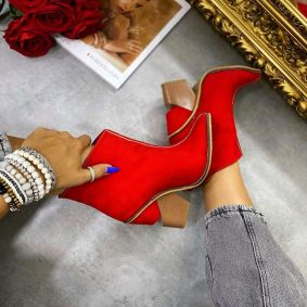 VELOUR POINTED ANKLE BOOTS BLOCK HEEL -  RED