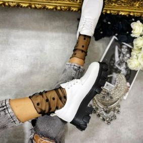 LACE UP SHOES WITH HIGH SOLE - WHITE