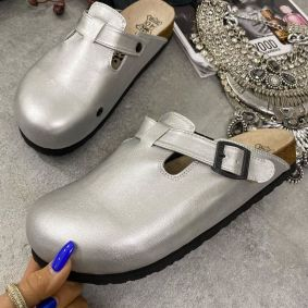 LEATHER CLOGS WITH BELT - SILVER