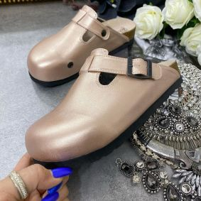 LEATHER CLOGS WITH BELT - ROSE/GOLD