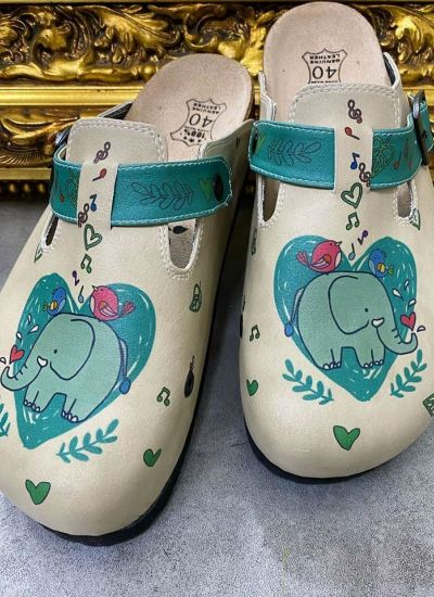 ELEPHANT LEATHER CLOGS WITH BELT - BEIGE