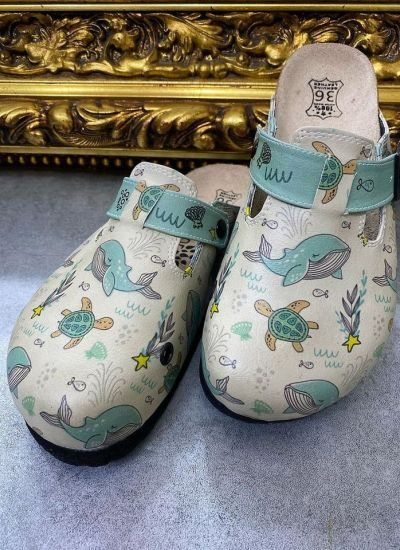 WHALE LEATHER CLOGS WITH BELTS - BEIGE