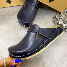 ANATOMIC LEATHER  CLOGS WITH VELCRO BAND - NAVY BLUE
