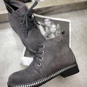 VELOUR LACE UP ANKLE BOOTS -  GRAY