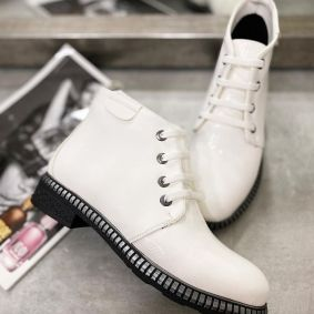 PATENT LACE UP ANKLE BOOTS - WHITE
