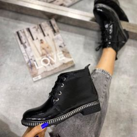 PATENT LACE UP ANKLE BOOTS -  BLACK