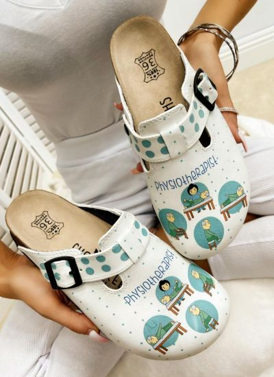 PHYSIOTHERAPIST LEATHER CLOGS WITH BELT - WHITE