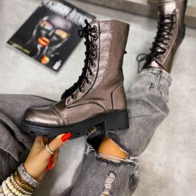 LACE UP ANKLE BOOTS WITH LOW BLOCK HEEL - GRAPHITE