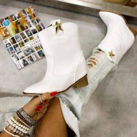 SPIKE COWGIRL BOOTS WITH HIDDEN HEEL - WHITE