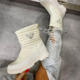 ANKLE BOOTS WITH SPORTS SOLE - WHITE