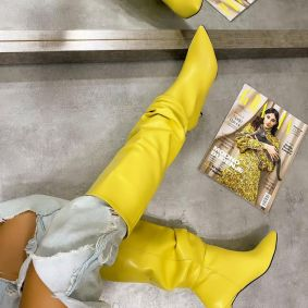SPIKE WRINKLED BOOTS THIN HEEL - YELLOW